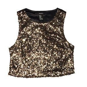 Gold sequins crop top